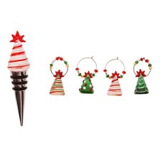 Glass Christmas Trees Stopper and Wine Charms Set