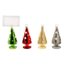 Glass Polka Dot Trees and Place Card Holder (Set of 4)