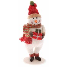 "13.5"" Snowman with Polka Dot Gift Holiday Accent"