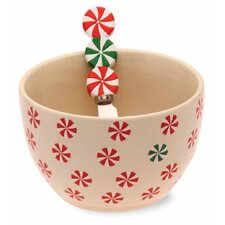 Holiday Peppermint Stoneware Bowl and Spreader Set