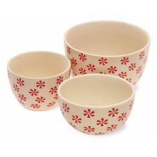 Holiday Peppermints Stoneware Bowl Set