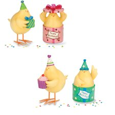 4 Piece Birthday Cheeky Chicks Figurine Set