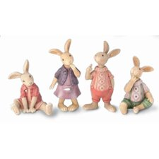 4 Piece Whimsical Cottontail Bunnies Figurine Set