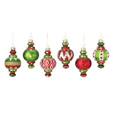 6 Piece Finial Glass Ornament Set