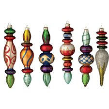 6 Piece Large Finial Glass Ornament Set