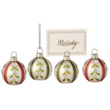 Sprig Ball Glass Ornament and Place Card (Set of 4)