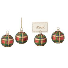 Plaid Ball Glass Ornament and Place Card Holder (Set of 4)