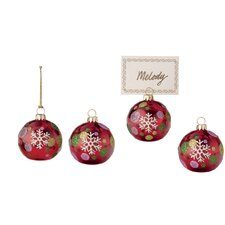 Snowflake and Dots Glass Ornament and Place Card Holder (Set of 4)