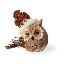 Owl with Red and Green Hat Holiday Accent
