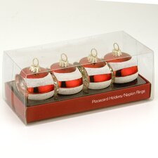 Striped Glass Ornament and Napkin Holder (Set of 4)