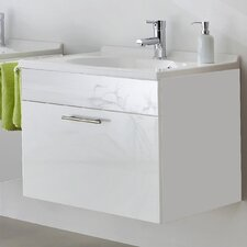 Montreal 70cm Wash Basin Base Cabinet in High Gloss Walnut and White