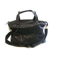 "<strong>R&R Collections Inc</strong> Double Handle 11"" Leather Weekender Duffel"
