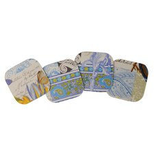 4 Piece Laminated Coaster Set (Set of 2)