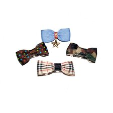 Four Boy Dog Hair Bow Barrettes