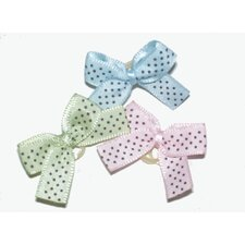 Petite Satin Dottie Dog Hair Bows on Elastic Grooming Bands
