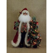 <strong>Karen Didion Originals</strong> Crakewood Lighted Santa Claus Figurine with Tree