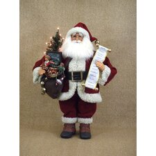 <strong>Karen Didion Originals</strong> Crakewood Lighted Vintage Gift Bag Santa Claus Figurine
