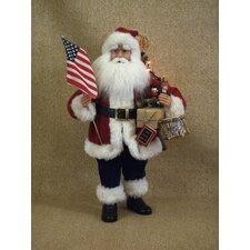 Crakewood Lighted Vintage Patriotic Santa Claus Figurine