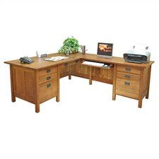 "Craftsman Home Office 72"" W Executive L-Computer Desk with Return"