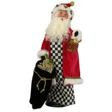Black & White Check Santa Figurine