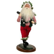 Walking Santa with Bell Figurine