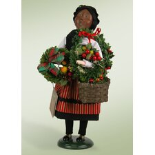 African American Crier Selling Wreaths Figurine