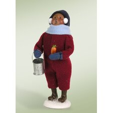 African American Snow Day Kid with Snowman Figurine