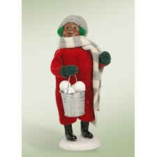 African American Snow Day Kid with Snowballs Figurine