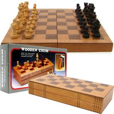 Chess Board Wooden Book Style with Staunton Chessmen
