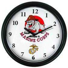 "9.75"" Deluxe Chiming US Marine Wall Clock"