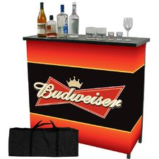 Budweiser 2 Shelf Portable Bar Table with Carrying Case