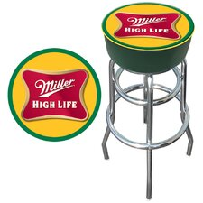 "<strong>Trademark Global</strong> 30"" Miller High Life Logo Padded Bar Stool with Cushion"