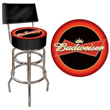 Budweiser Bowtie Padded Bar Stool in Red / Black