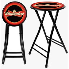"Budweiser 24"" Folding Bar Stool with Cushion"