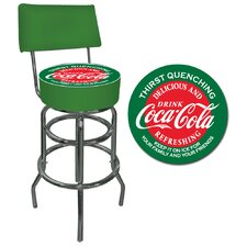 Red and Green Coca Cola Pub Stool with Back