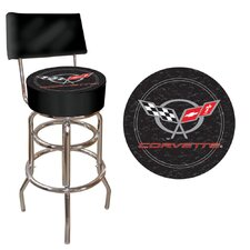Corvette C5 Padded Bar Stool with Back in Black