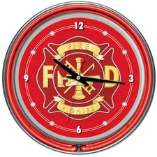 "Fire Fighter 14"" Neon Wall Clock"
