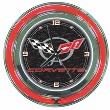 "Corvette C5 14"" Neon Wall Clock in Black"