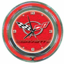 "Corvette C5 14"" Neon Wall Clock in Red"
