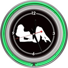 Shadow Babes - A Series - Clock with Two Neon Rings in Green