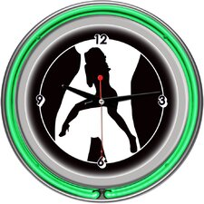 Shadow Babes - C Series - Clock with Two Neon Rings in Green