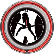Shadow Babes - C Series - Clock with Two Neon Rings in Red