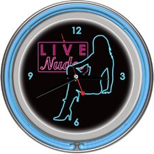 Shadow Babes - D Series - Clock with Two Neon Rings in Blue