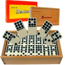 Premium Double Nine Dominoes with Wood Case (Set of 55)