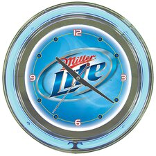 Miller Lite Neon Wall Clock in Polished Chrome