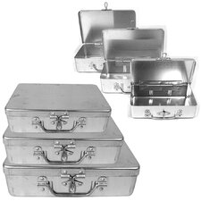 <strong>Trademark Global</strong> 3 Piece Aluminum Storage Box with Lockable Clasp and Handle (Set of 3)