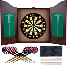 <strong>Trademark Global</strong> TGT Dartboard Cabinet Set in Realistic Walnut