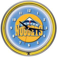 nBA Chrome Double Ring Neon Clock
