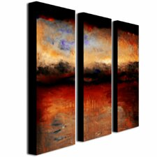"""Red Skies at Night"" by Michelle Calkins Painting Print 3 Panel Art Set"