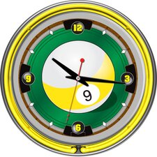 "14"" 9 Ball Neon Wall Clock"